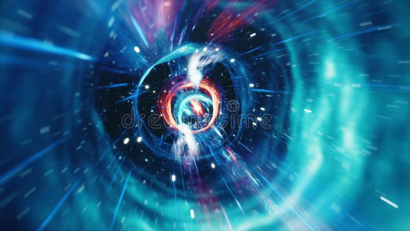 3D illustratietunnel of wormhole, tunnel die ??n heelal aan een andere kan verbinden De abstracte afwijking van de snelheidstunne royalty-vrije illustratie