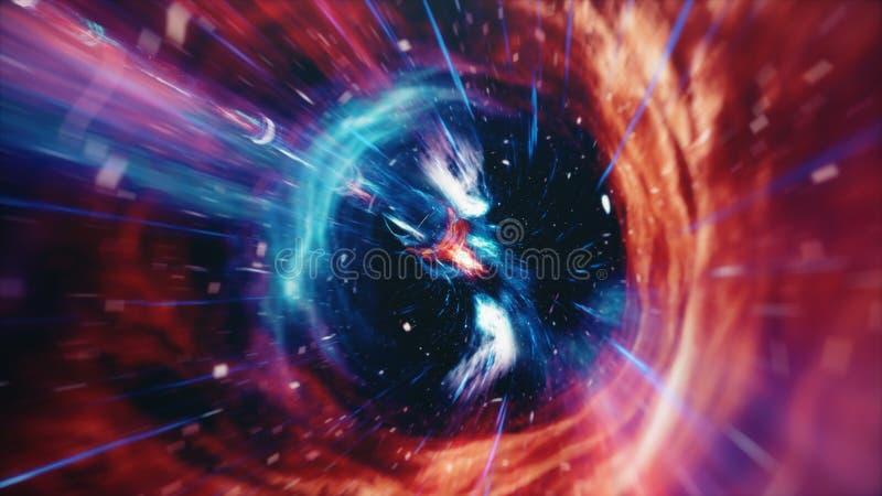 3D illustratietunnel of wormhole, tunnel die ??n heelal aan een andere kan verbinden De abstracte afwijking van de snelheidstunne vector illustratie