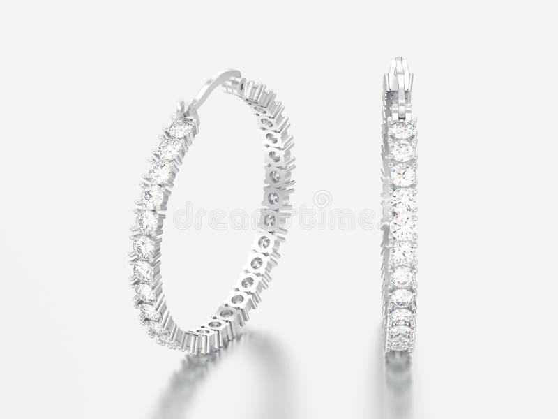 3D illustratiewitgoud of zilveren decoratieve diamantoorringen stock afbeeldingen