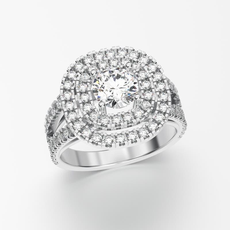 3D illustratiewitgoud of zilveren ring met diamanten vector illustratie