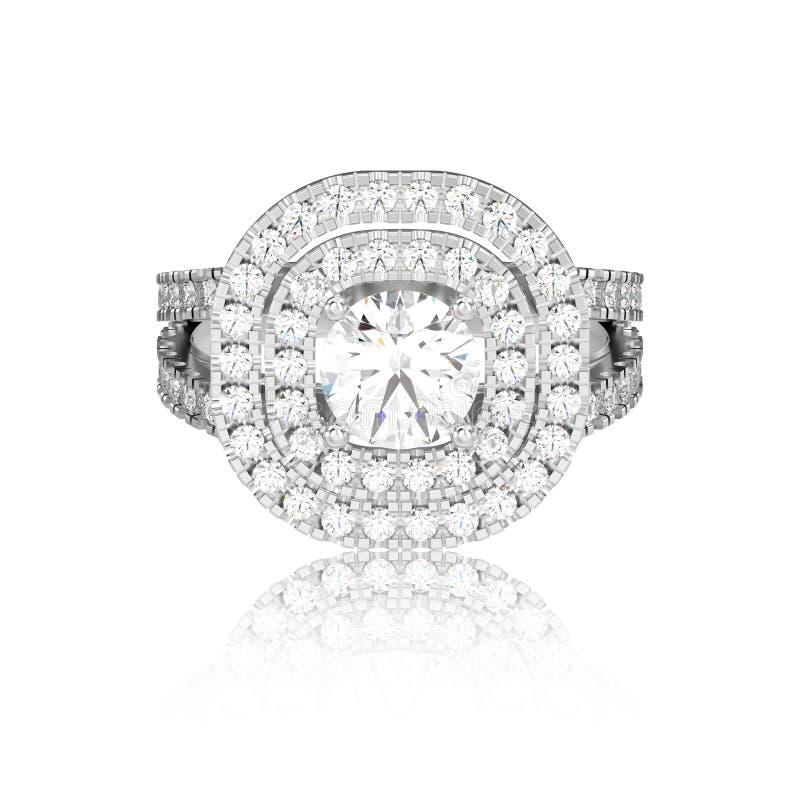 3D illustratiewitgoud of zilveren ring met diamanten stock illustratie