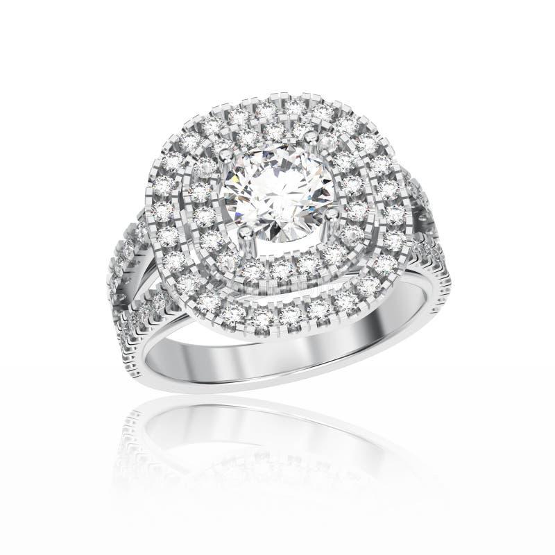 3D illustratiewitgoud of zilveren ring met diamanten royalty-vrije illustratie