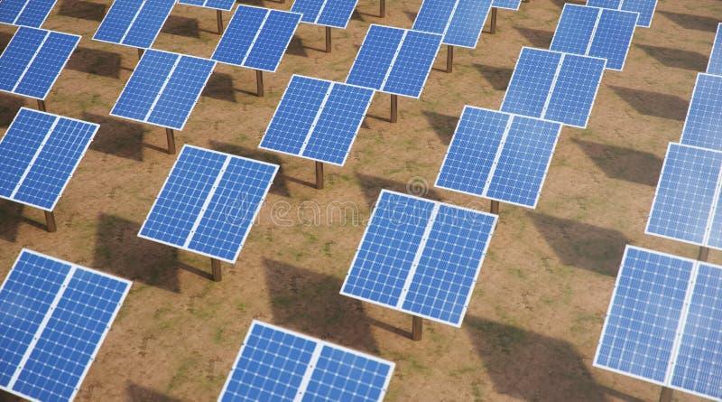 3D illustratiezonnepanelen Alternatieve Energie Concept duurzame energie Ecologische, schone energie Zonnepanelen op een dak royalty-vrije stock foto's
