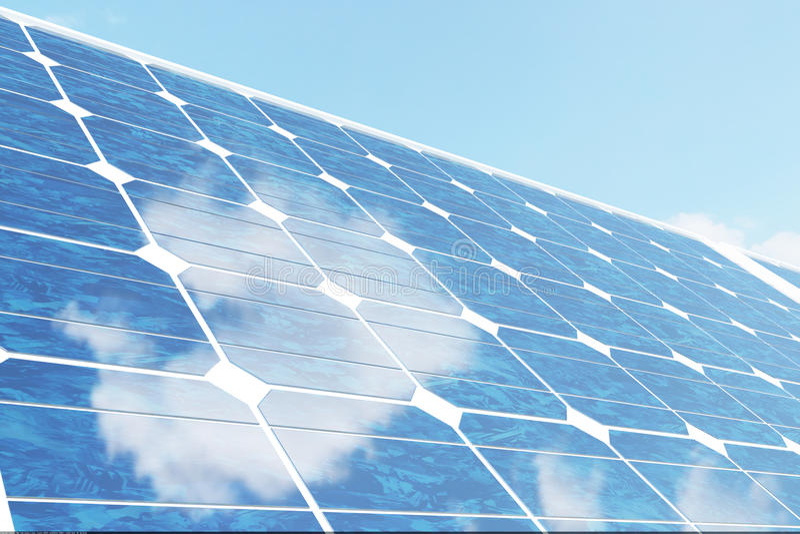 3D illustratiezonnepanelen op hemelachtergrond Alternatieve schone energie van de zon Macht, ecologie, technologie royalty-vrije illustratie
