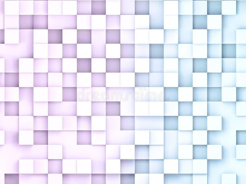 3D illustratio abstrakcjonistyczni sześcianów tła Wzrastał i błękit obciosuje abstrakcjonistycznego dane pojęcie royalty ilustracja