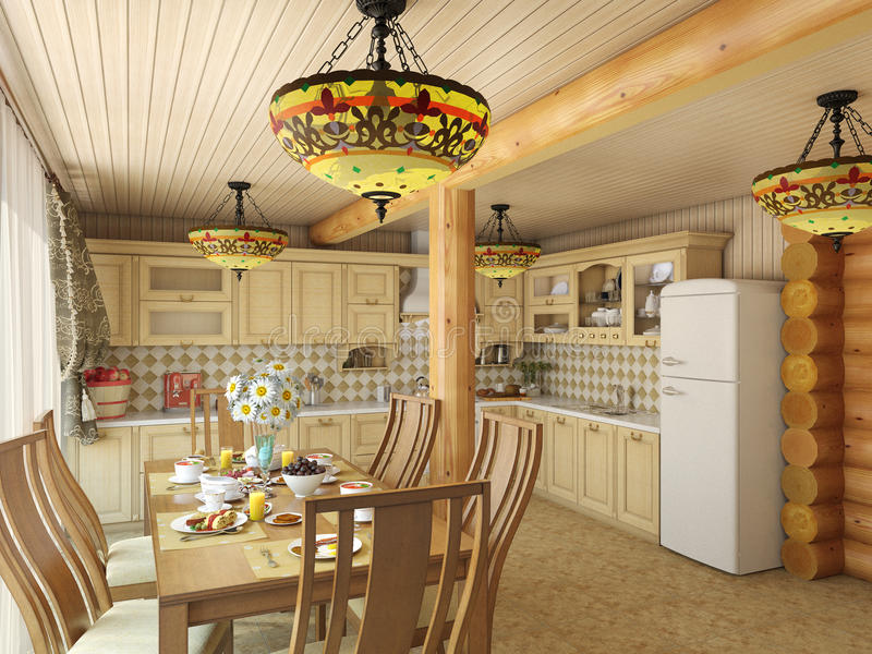 3d illustration сozy kitchen in the house of the carcass. 3d render сozy kitchen in the house of the carcass stock illustration