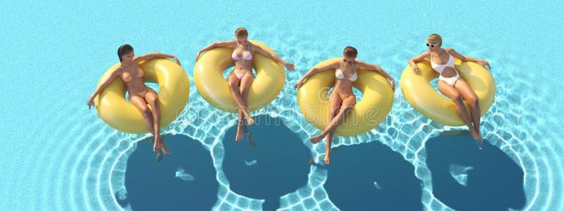 3D-Illustration женщин плавая на поплавке в бассейне стоковые фотографии rf