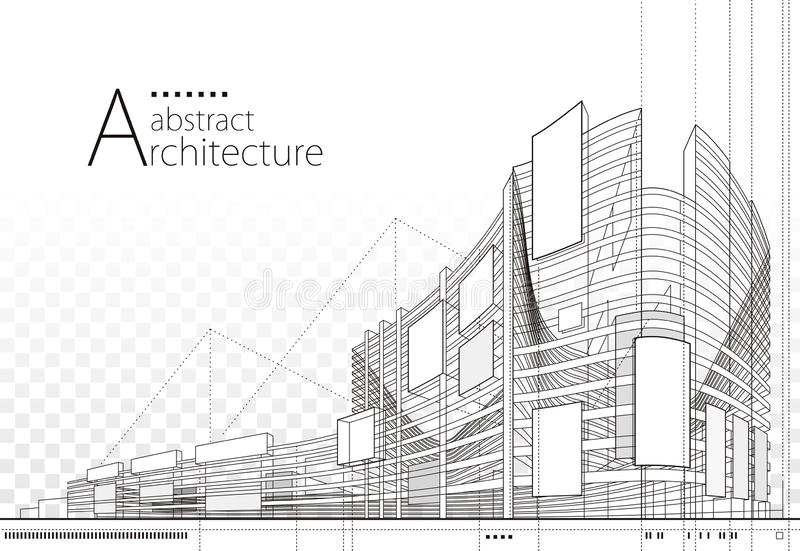 3D illustration Abstract Architecture Building Line Drawing. royalty free stock photography