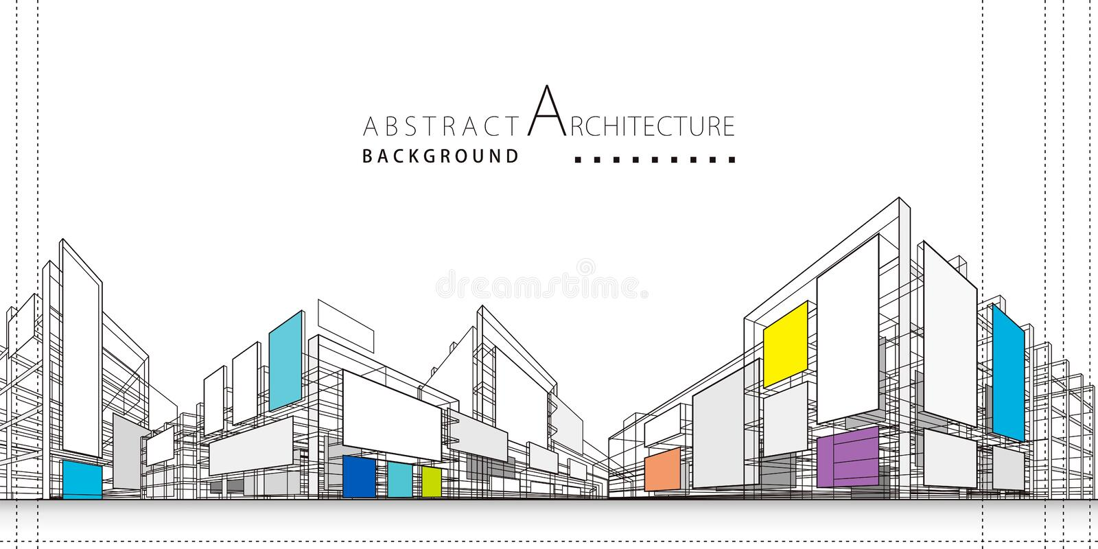 3D illustration Abstract Architecture Construction Background. stock photo
