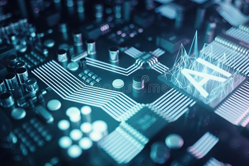 3D illustration abstract artificial intelligence on a printed circuit board. Technology and engineering concept. Neurons stock illustration
