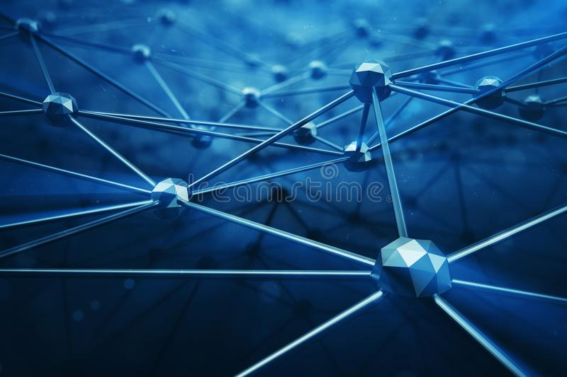 3D illustration Abstract bacgkround connection dots and lines of technology. Connection structure. Science background. Futuristic polygonal background royalty free illustration