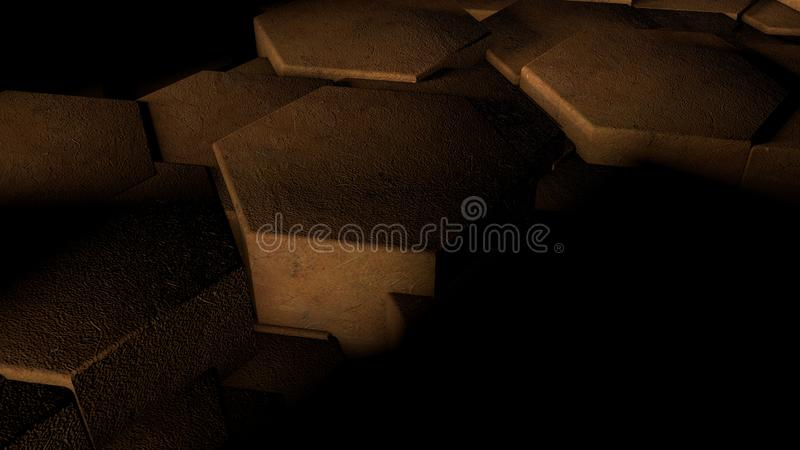 3D illustration of abstract futuristic background from many different hexagons, honeycomb wood, idea for screensaver and stock illustration