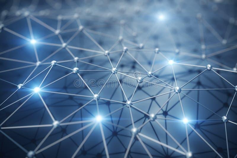 3D illustration, abstrakt bakgrund Nerv- nätverk för begrepp och molnberäkning Geometri med anslutningslinjer och royaltyfri illustrationer