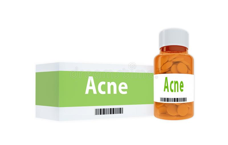 Acne - medical concept. 3D illustration of Acne title on pill bottle, isolated on white, adult, beautiful, beauty, blemish, care, compare, complexion, correction stock illustration