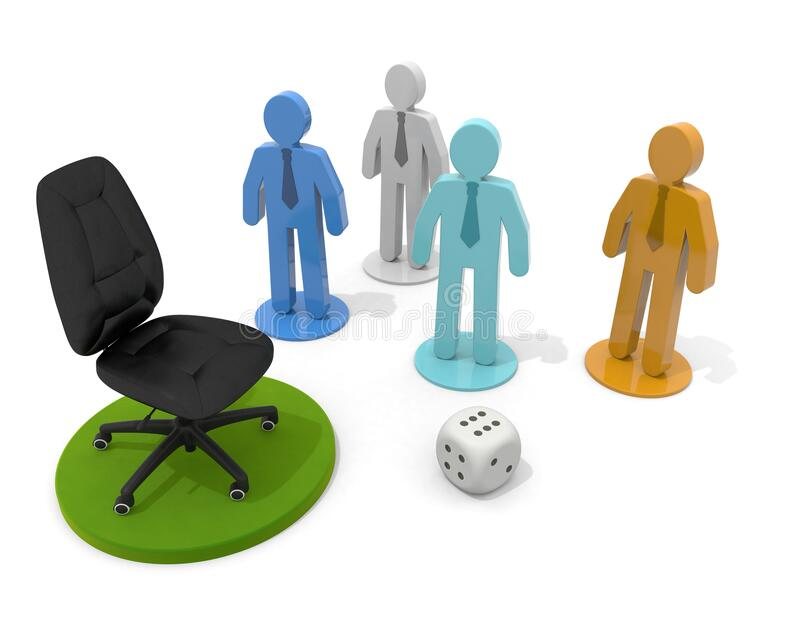 3D illustration. Aim for the top chair. Businessman pieces and dice. royalty free illustration