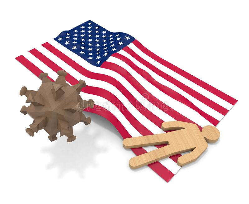 3D illustration. American flag. People die from illness. Infect the virus. royalty free illustration
