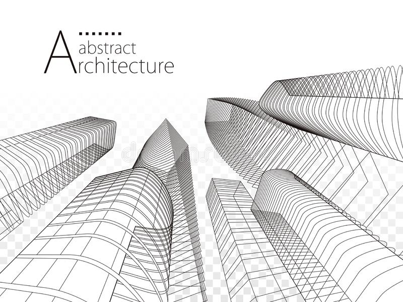 3D illustration Architecture Modern Urban Building Design. royalty free stock photography