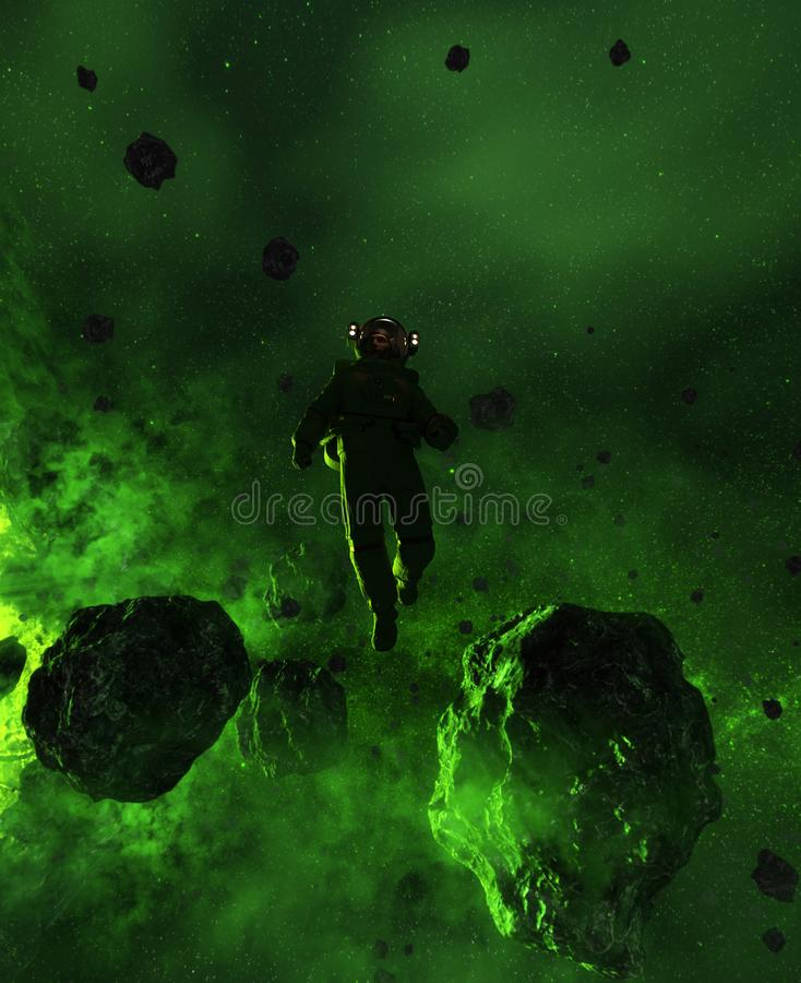 Download Astronaut In Asteroid Field Stock Illustration - Illustration of science, galaxy: 119946501