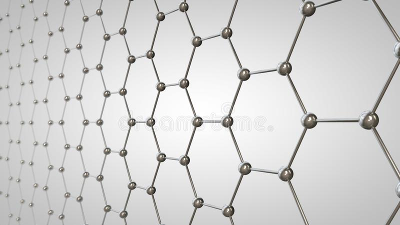 3D illustration av graphenerastret, kolmolekylar av metallisk färg Idén av nanoteknik, superledaren och det toppna batteriet vektor illustrationer