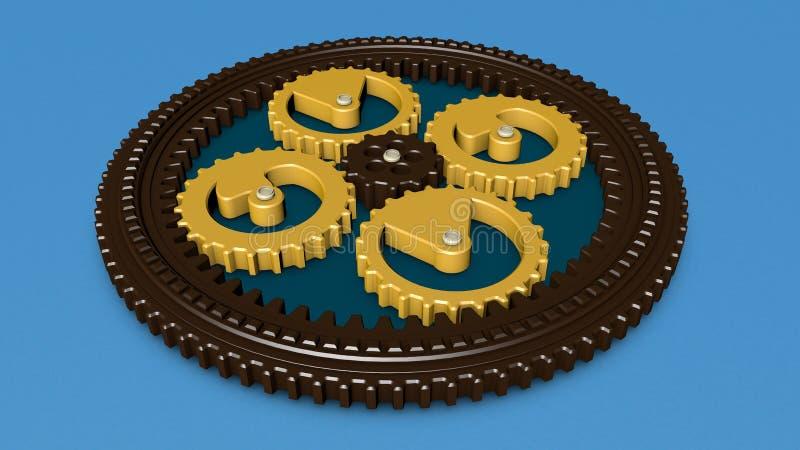 3D illustration av kugghjul, kugghjul, planetarisk rotationsmekanism framförande 3d vektor illustrationer
