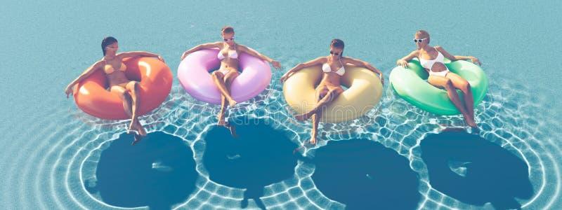 3D-Illustration av kvinnor som simmar på flötet i en pöl arkivfoton