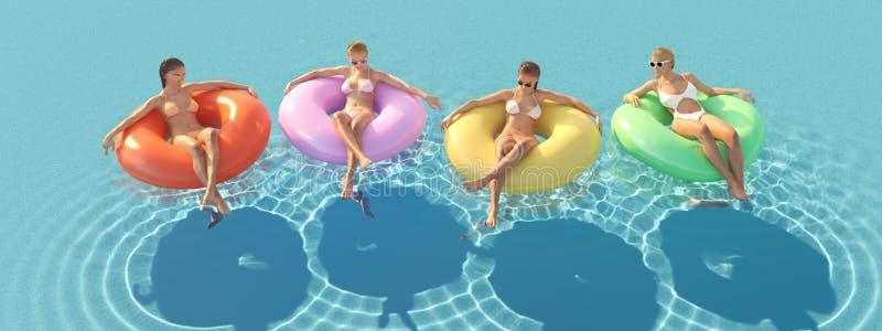 3D-Illustration av kvinnor som simmar på flötet i en pöl fotografering för bildbyråer