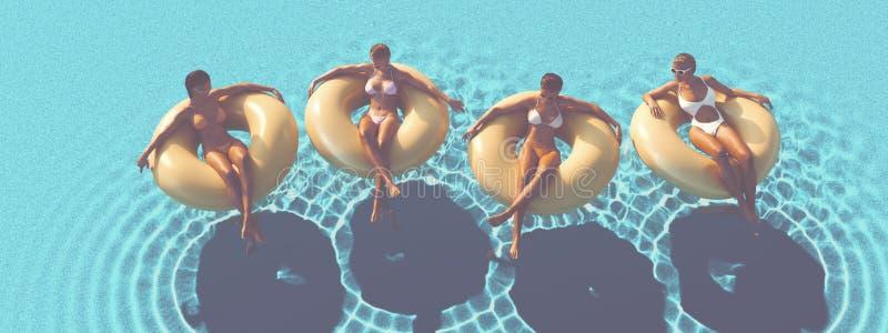 3D-Illustration av kvinnor som simmar på flötet i en pöl royaltyfri foto