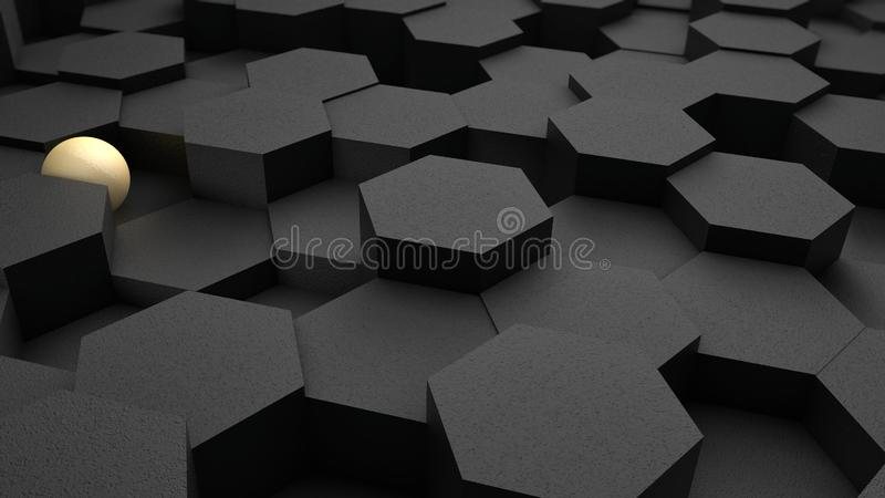 3D illustration of a background of many black hexagons and blue ball, sphere. The idea of business, wealth and prosperity, a stock illustration