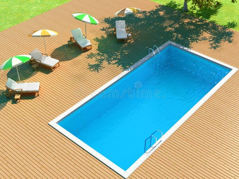 3d illustration of backyard with pool stock illustration