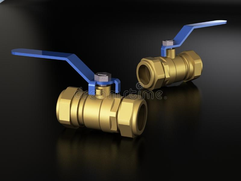 3d illustration of ball valves. On black background vector illustration