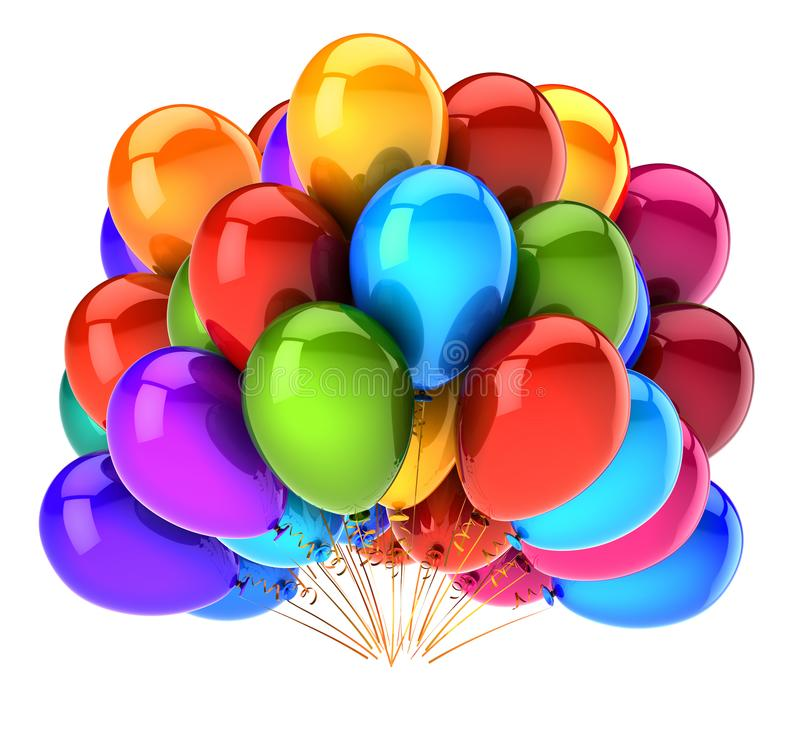 3D illustration balloons happy birthday party decoration multicolor royalty free illustration