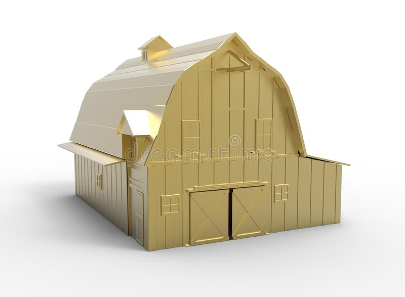 3d illustration of barn. stock illustration