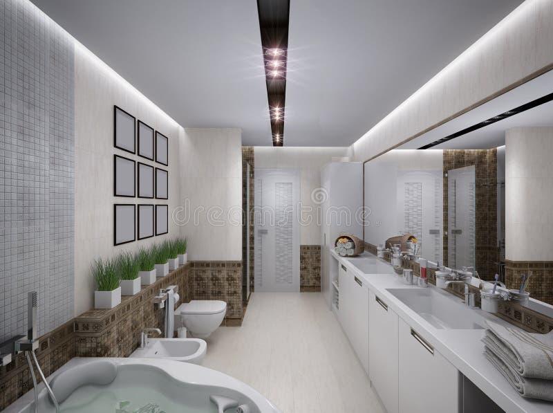 3D illustration of the bathroom in antique style. 3D rendering of the bathroom in antique style vector illustration