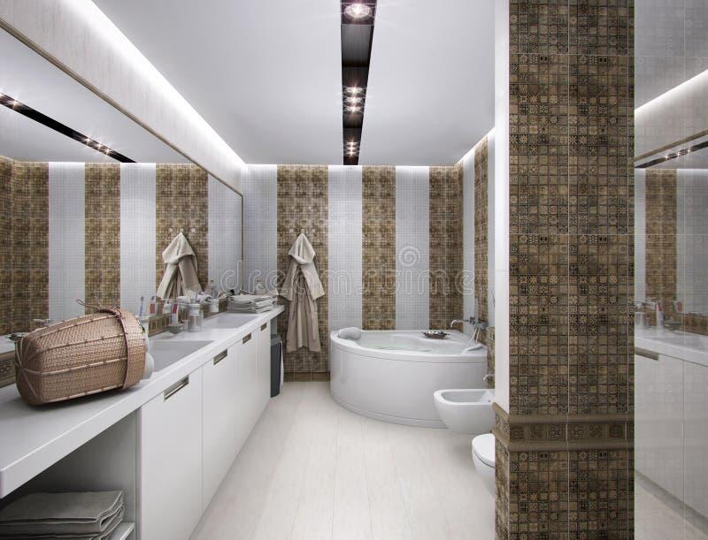 3D illustration of the bathroom in antique style. 3D rendering of the bathroom in antique style royalty free illustration