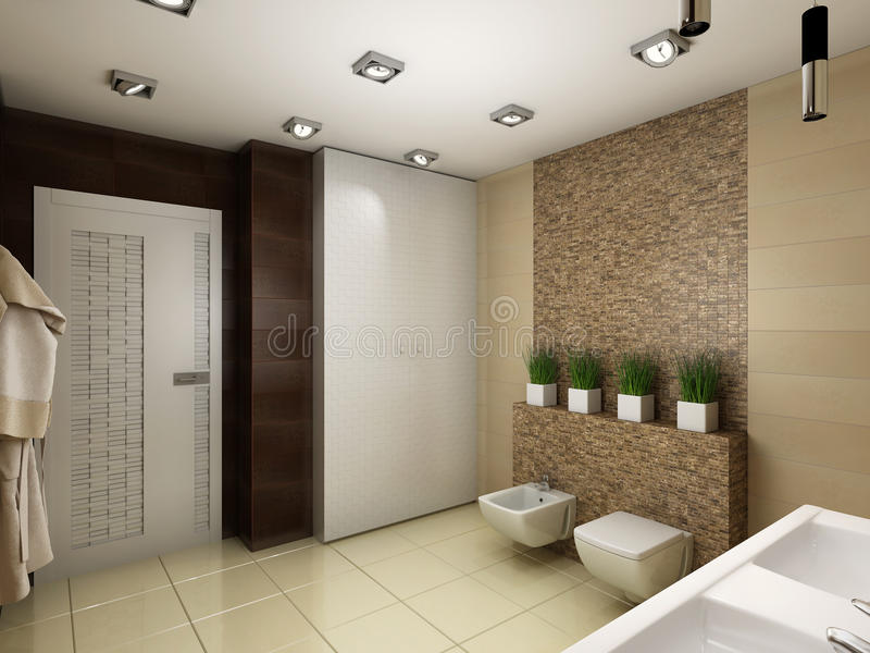 3D illustration of the bathroom in brown tones. 3D render of the bathroom in brown tones vector illustration