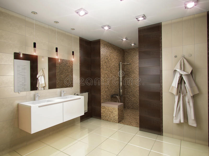 3D illustration of the bathroom in brown tones. 3D rendering of the bathroom in brown tones stock illustration