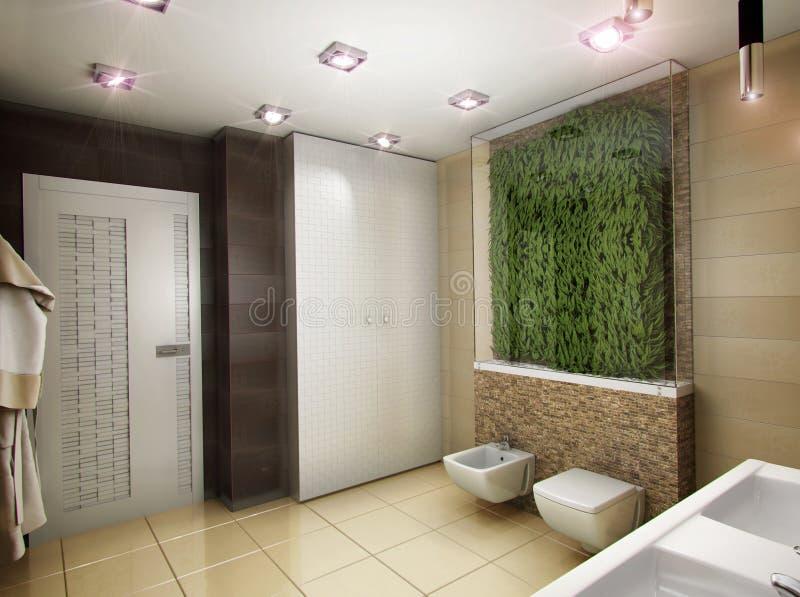 3D illustration of the bathroom in brown tones. 3D rendering of the bathroom in brown tones royalty free illustration