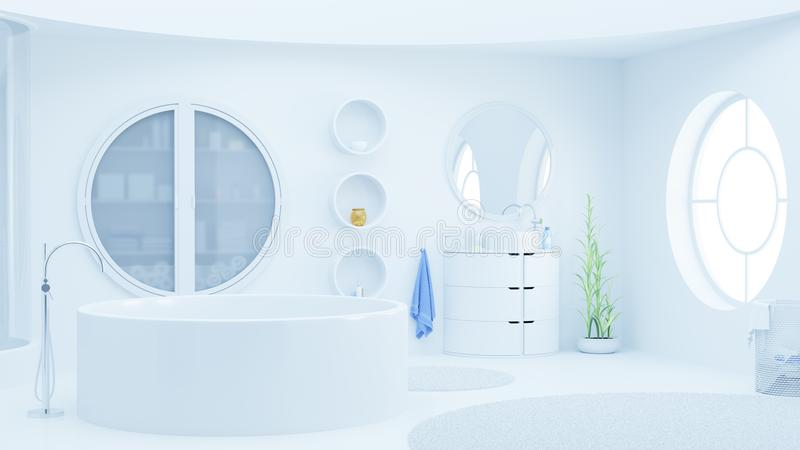 Modern white bathroom with skylight royalty free stock images