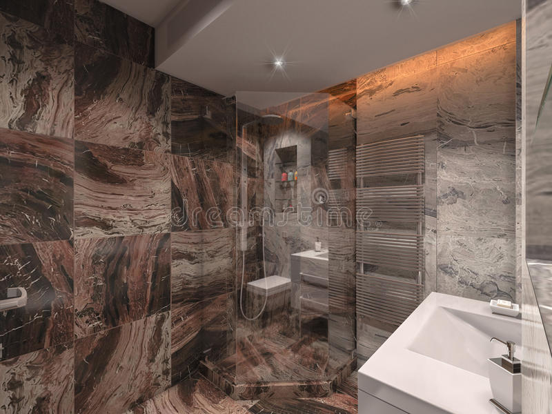 3d illustration bathroom in gray and brown stone with white bat. 3d render bathroom in gray and brown stone with white bat royalty free illustration