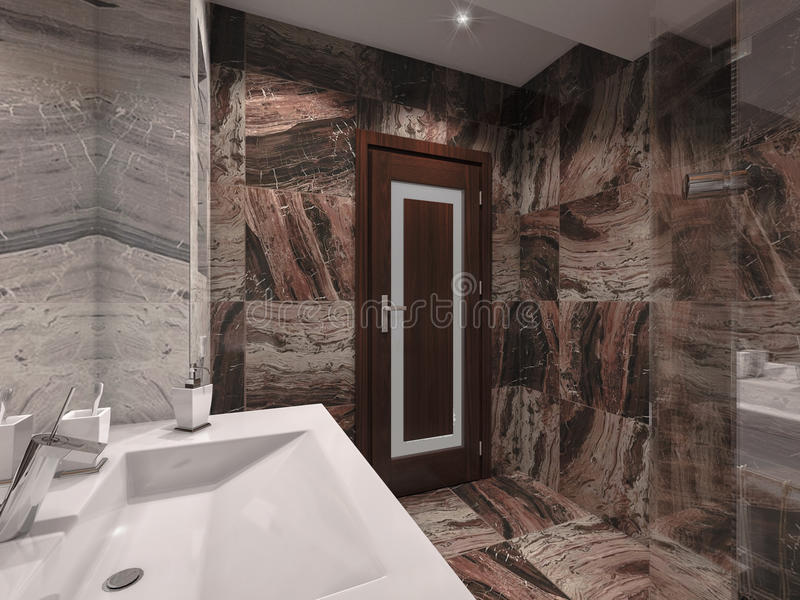 3d illustration bathroom in gray and brown stone with white bath. 3d render bathroom in gray and brown stone with white bath stock illustration