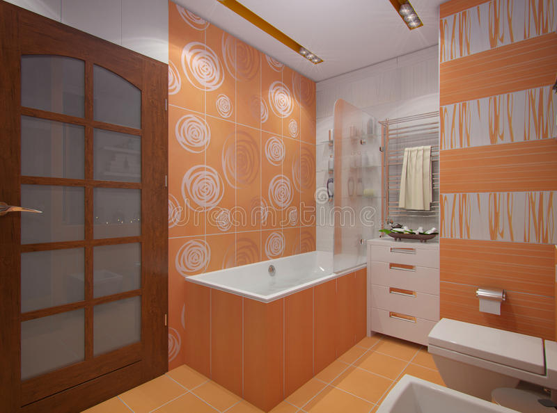 3D illustration of a bathroom in orange color. 3d render design interior bathroom in orange color in modern architectural style with bath and shower royalty free illustration