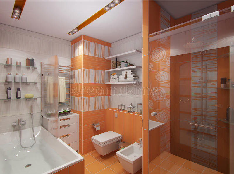 3D illustration of a bathroom in orange color. 3d render design interior bathroom in orange color in modern architectural style with bath and shower stock illustration