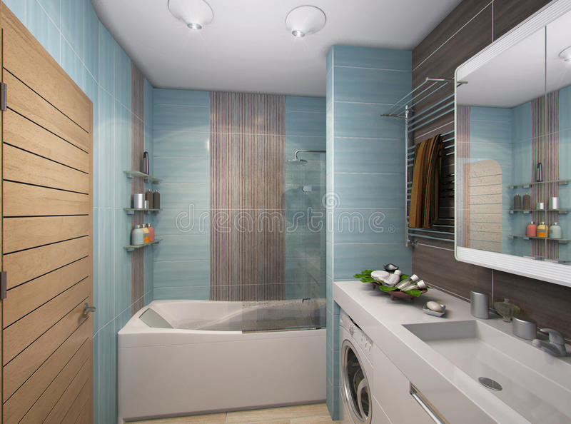3D illustration of a bathroom in turquoise tones. 3D render of a bathroom in turquoise tones vector illustration