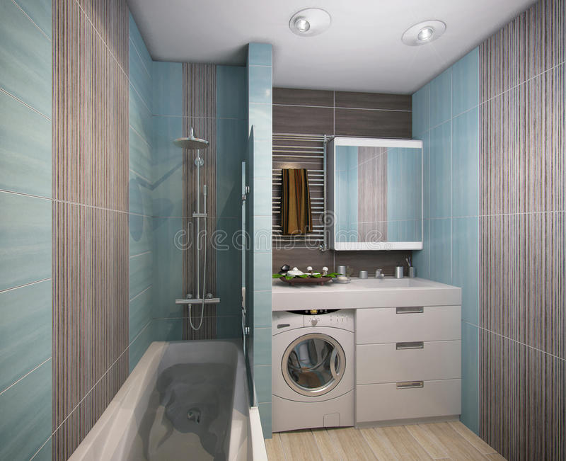 3D illustration of a bathroom in turquoise tones. 3D render of a bathroom in turquoise tones royalty free illustration