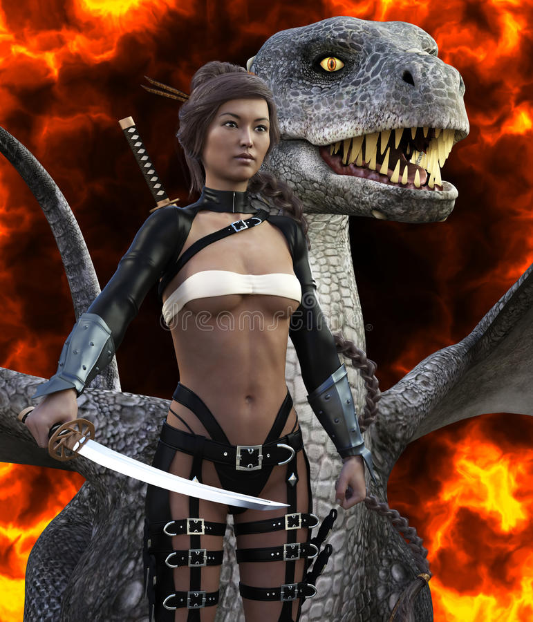 3D Illustration Of A Beautiful Asian Female And Dragon vector illustration