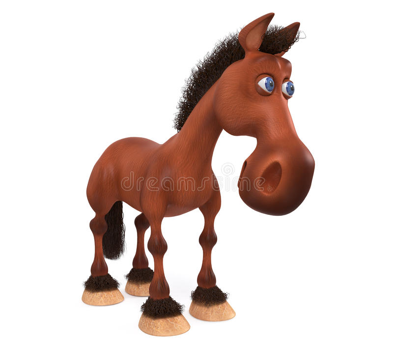 3d illustration beautiful Bay horse. 3d illustration the stallion posing in front of sports irregular royalty free illustration