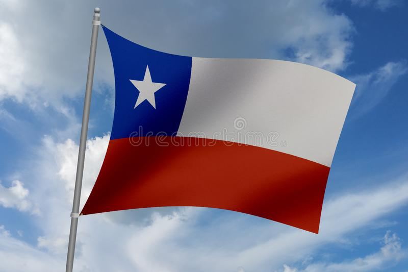 3D illustration Beautiful Chile waving flag.  vector illustration