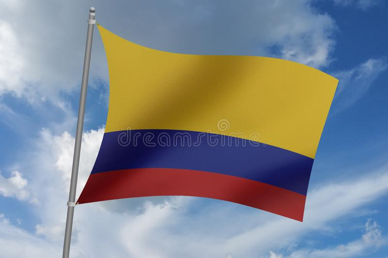 3D illustration Beautiful Colombia waving flag.  vector illustration