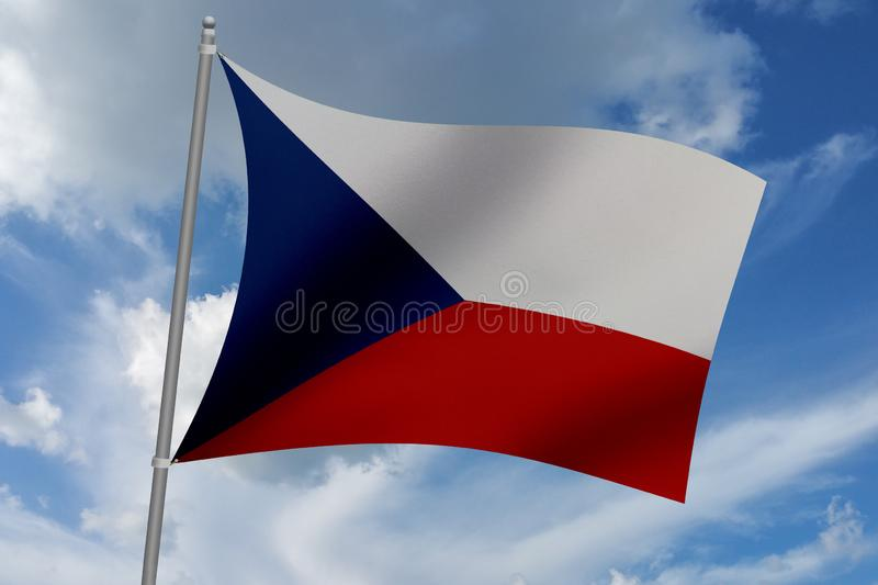 3D illustration Beautiful Czech Republic waving flag.  royalty free illustration