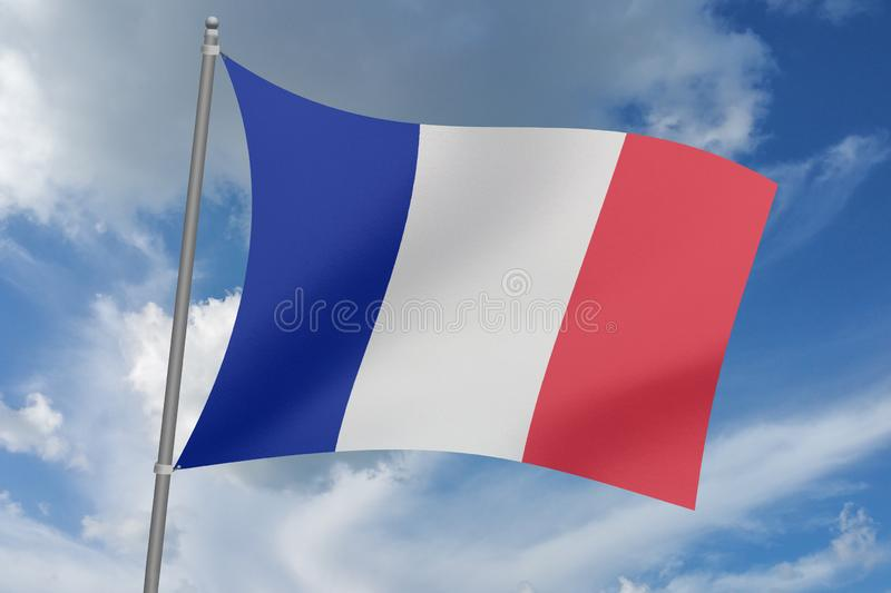 3D  illustration Beautiful  France waving flag.  royalty free illustration
